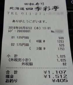 四季彩亭レシート
