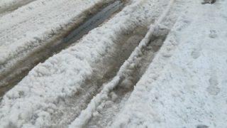 少し気温が上がってきて道路がぐちゃぐちゃ